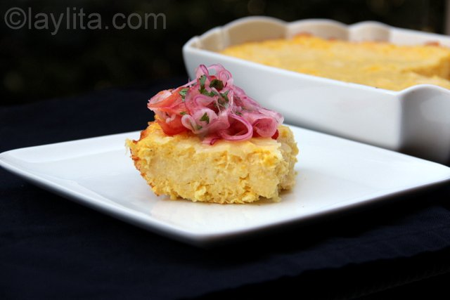 Baked savory  fresh corn cake with tomato and onion salsa
