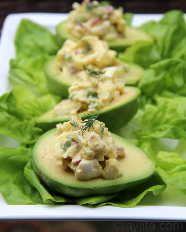 Egg salad filled avocado