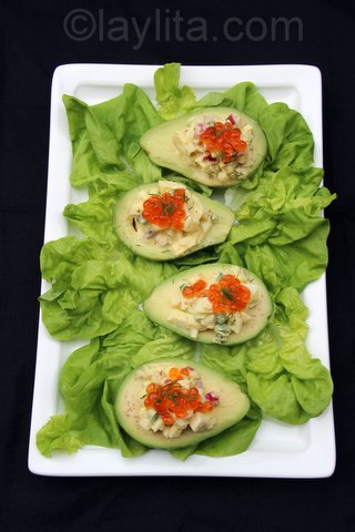 Egg salad stuffed avocado with salmon roe