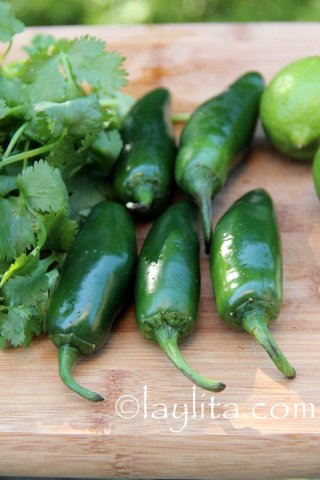 Jalapeños, cilantro, limes and garlic for salsa o aji