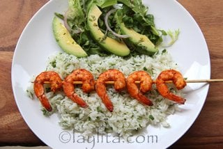 Grilled shrimp over cilantro lime rice