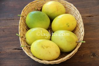 Fresh passion fruits in Ecuador