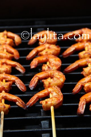 Grill shrimp for about 3-4 minutes on each side