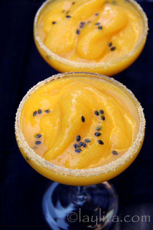 Frozen mango passion fruit margarita