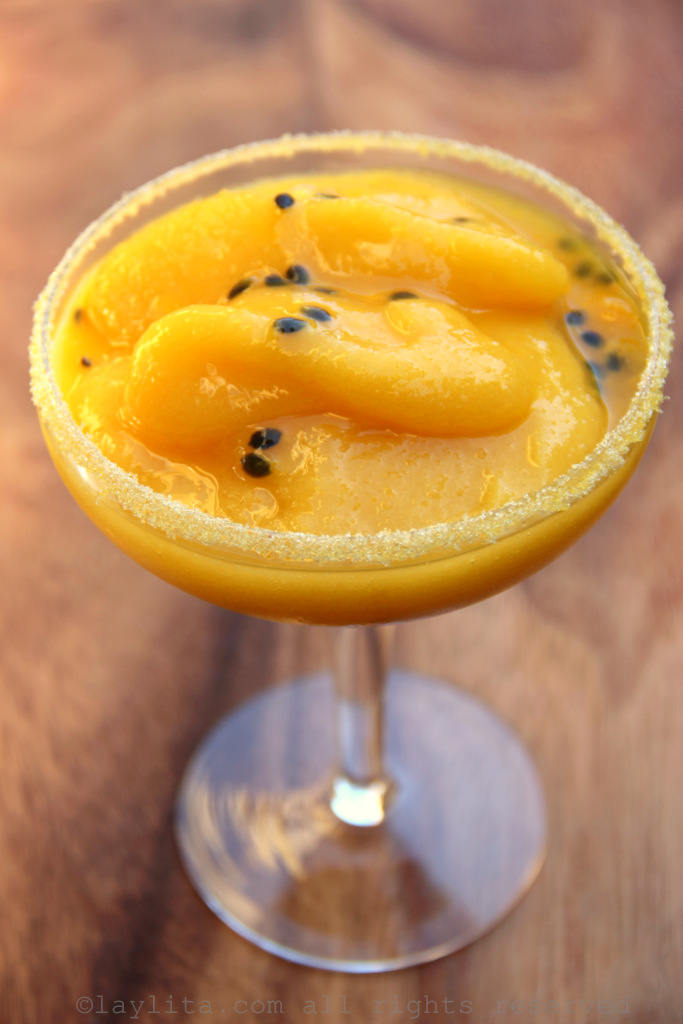 Frozen passion fruit mango margaritas