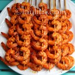 Grilled passion fruit shrimp skewers