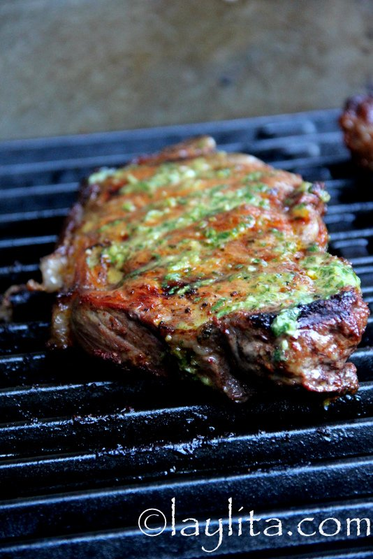 Grilled steak with jalapeño cilantro salsa