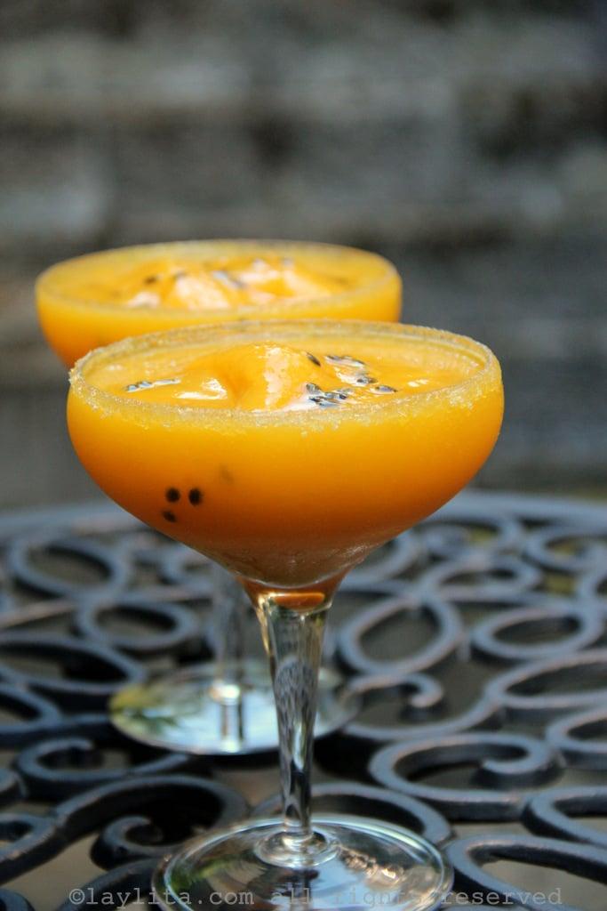Passion fruit and mango margaritas