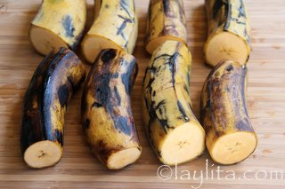 Cut the plantains in halves, peel them and slice them