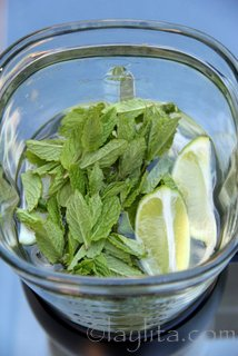 Put the quartered lemons or limes with the mint, honey, some ice and water