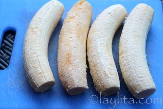 For smaller plantains you can slice the entire plantain lengthwise