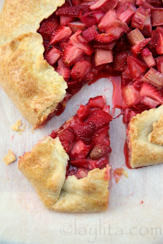 Rhubarb strawberry rustic tart