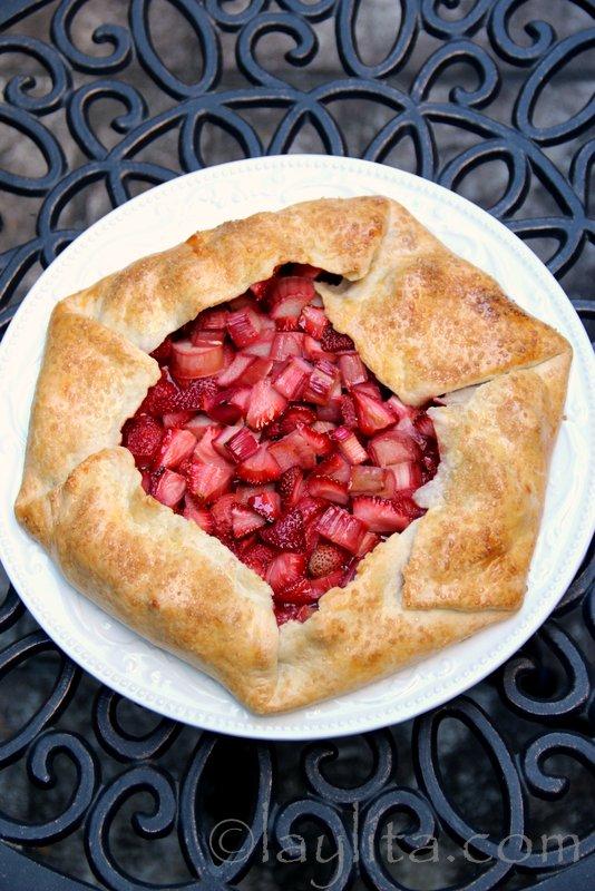 Strawberry rhubarb galette or rustic tart