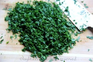 Chopped parsley for chimichurri salsa