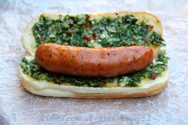 Choripan can be served just with chimichurri sauce