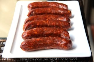 Chorizo sausages for choripan