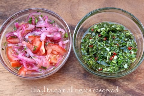 Toppings for choripan: chimichurri and onion tomato curtido salsa