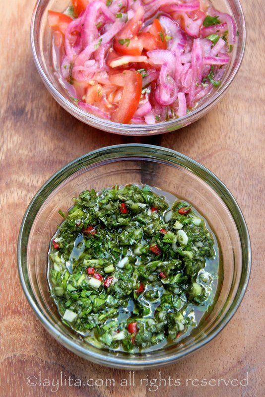 Chimichurri and tomato onion salsa for toppings