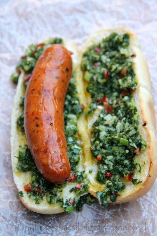 Recipe for choripan or chorizo hot dog with chimichurri sauce