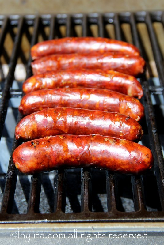 Grilled chorizo for chorizo style hot dogs