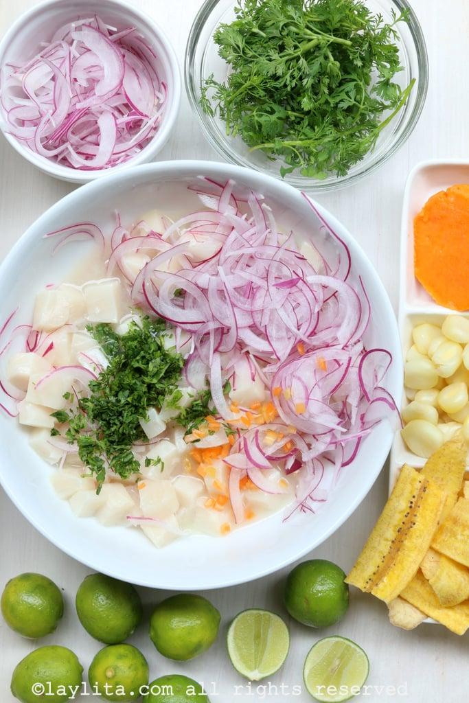 Peruvian ceviche preparation