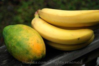 Papaye et bananes