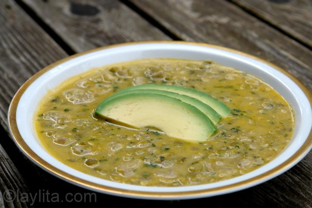 Green banana (or plantain) soup with peas