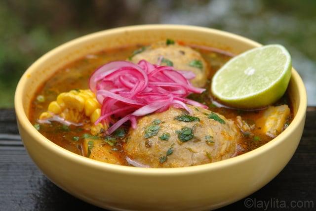 Caldo de bolas de verde or green plantain dumpling soup