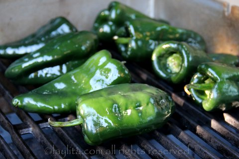 Roasting poblano peppers on the grill