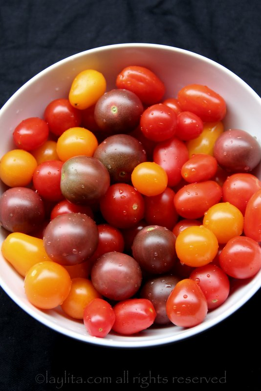 Cherry and grape tomatoes for caprese salad