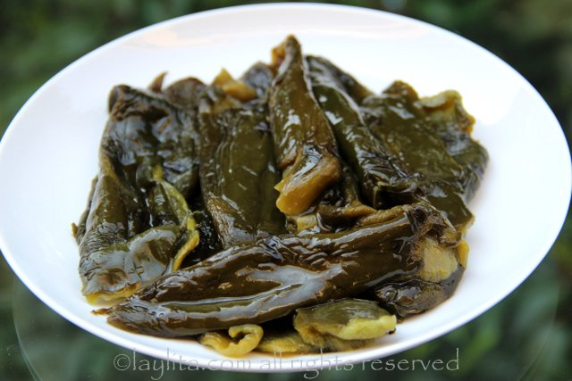 Roasted and peeled poblano peppers or rajas