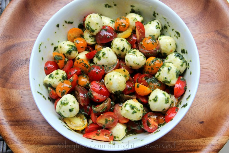 Another option is to use cherry tomatoes and mozzarella pearls