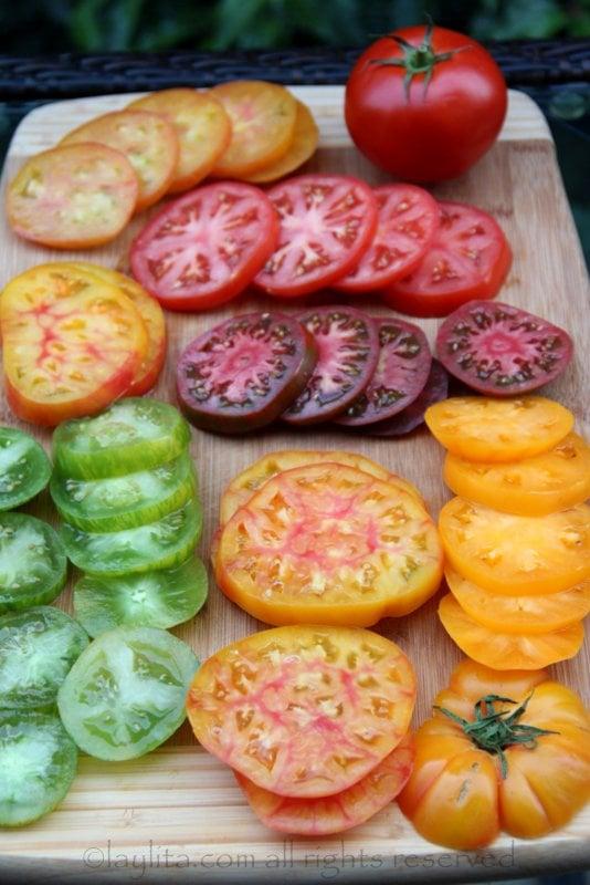 Heirloom tomato caprese salad preparation