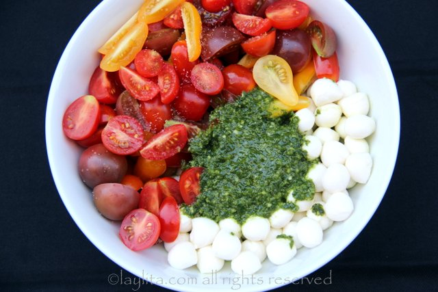 Mix the tomatoes, mozzarella balls and basil garlic oil in a bowl