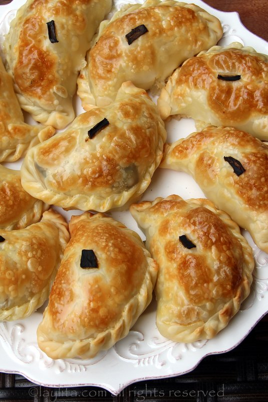 Empanadas filled with roasted poblano peppers and cheese