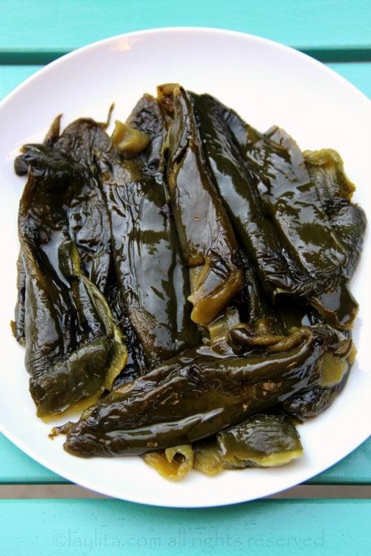 Roasted poblanos or rajas