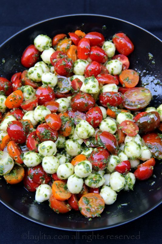 Tomato mozzarella caprese filling for stuffed avocados
