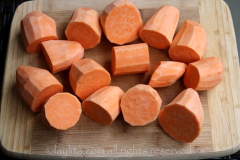 Peel and cut the sweet potatoes into large chunks