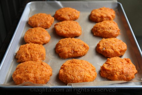 Form the sweet potato patties and refrigerate before cooking