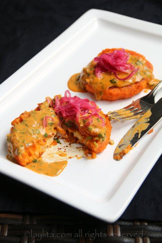 Stuffed sweet potato patties