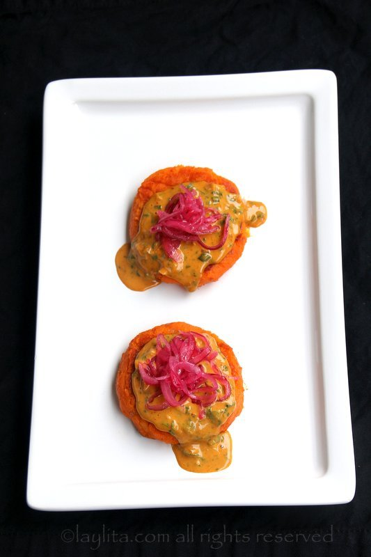Sweet potato patties with peanut sauce