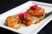 Sweet potato patties stuffed with cheese