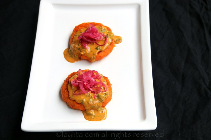 Sweet potato patties with peanut sauce and lime marinated red onions