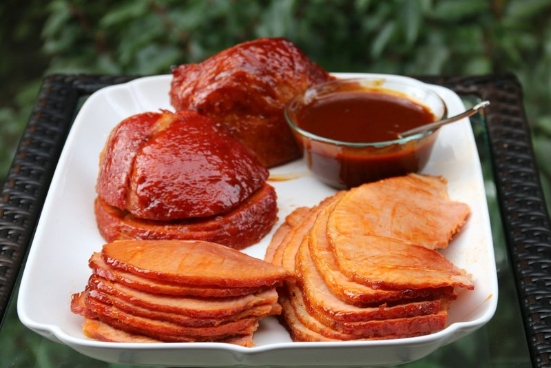 Baked ham with orange chipotle gravy
