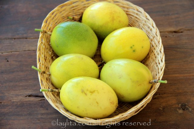 Ecuadorian passion fruits or maracuyas