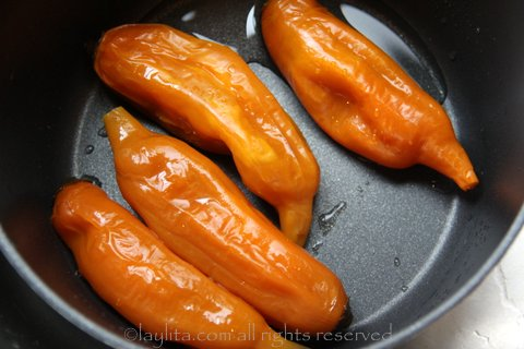 Let the aji peppers cool down