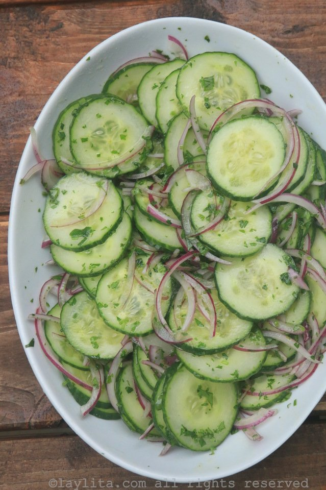 Cucumber salad with red onions, lime and cilantro