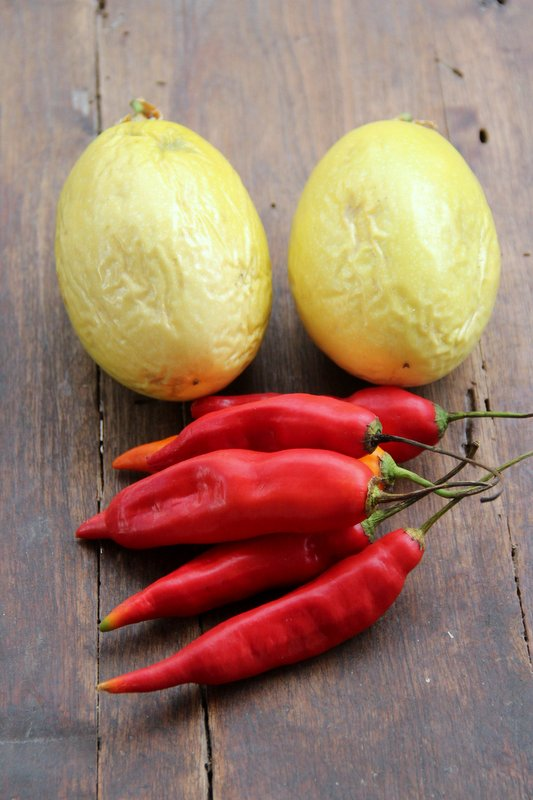 Ecuadorian red aji peppers and passion fruits