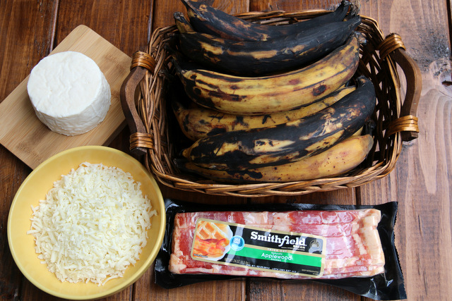 Ingredients for bacon stuffed plantains