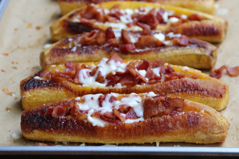 Baked ripe plantains filled with bacon